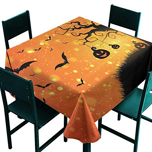 Warm Family Halloween Polyester tableclothMagical Fantastic Evil Night Icons Swirled Branches Haunted Forest Hill Indoor Outdoor Camping Picnic W36 x L36 for $<!--$17.70-->