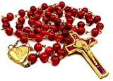 Nazareth Store Saint Benedict Rosary Red Glass Beads St San Benito Cross NR Medal Catholic Necklace