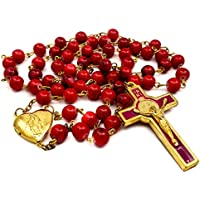 Saint Benedict Rosary Red Glass Beads St San Benito Cross NR Medal Catholic Necklace