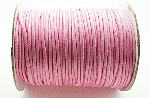 PINK 2mm Faux Imitation Leather Polyester Braided Cord Macrame Bracelet Thread Artisan String (100yards Spool)