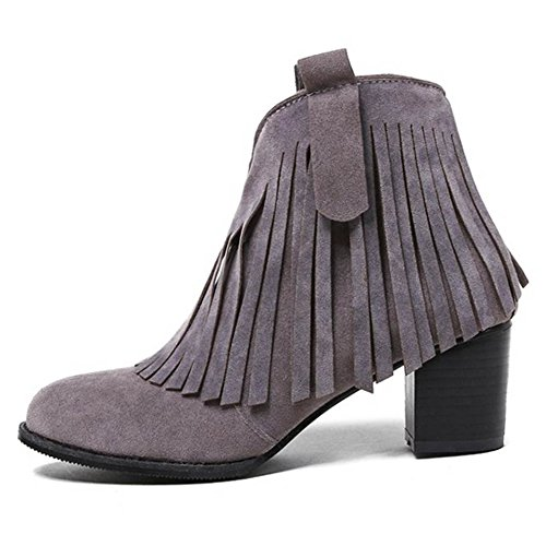 Grey 5cm Zipper Heel TAOFFEN Boots Fringe Block Mid Women 6UxqnOwF08