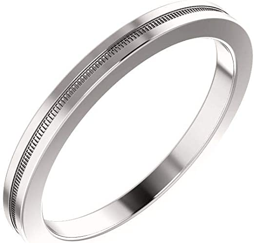 Jewels By Lux 14K White Gold 2mm Light Comfort Fit Wedding Ring Band