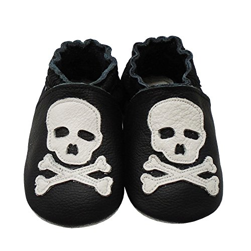 - Mejale Baby Shoes Soft Soled Leather Moccasins Skull Infant Toddler Pre-Walker(18-24 Months,Black)