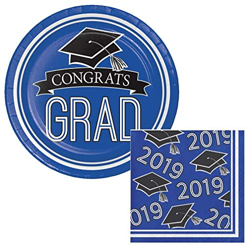 School Colors Class of 2019 Graduation Dessert Plates & Napkins Party Kit for 18 (Blue)]()