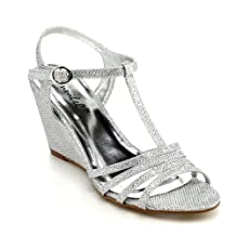 Bonnibel Womens Flosa-1 Glitter T Strap Wedge Dress Sandals