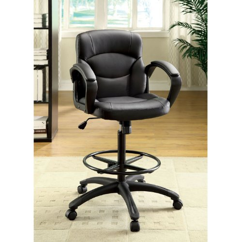 Devlin Drafting Style Leatherette Adjustable Office Chair by Enitial Lab