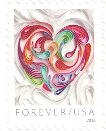 b05853eb1f024 Amazon.com: USPS 20 Quilled Paper Heart Forever Stamps 5 Sheets: Toys &  Games