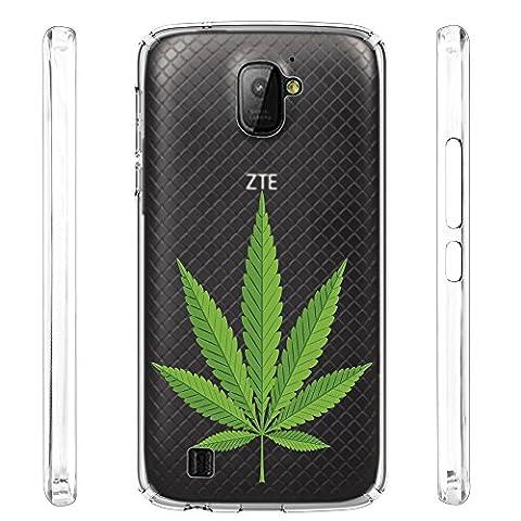 ZTE Citrine LTE Case, URAKKI TPU CLEAR Slim Fit Soft Skin Phone Cover for ZTE Citrine LTE Z716G / Z717VL / Z716BL [ Weed ] Design (Weed Zte Phone Cases)