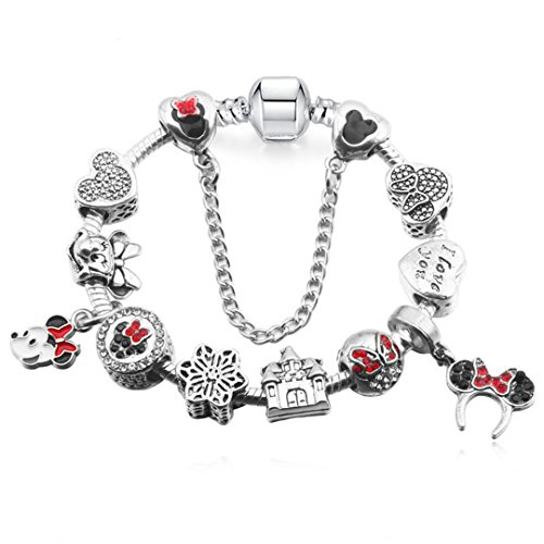 Enamel Minnie Charms & Bangles For Women Men Handmade Chain Friendship Pan Bracelets Gift as pic 17cm
