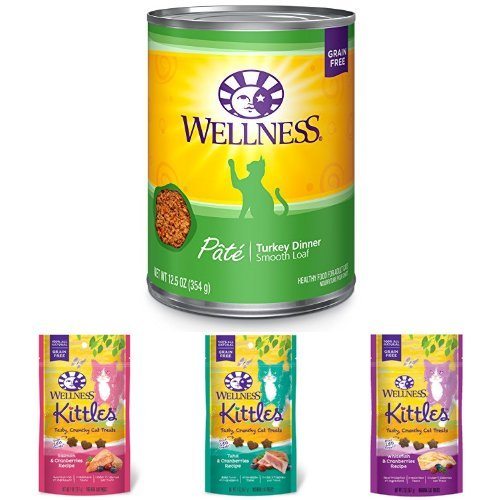 Wellness Natural Grain Free Wet Canned Cat Food, Turkey Pate, 12.5-Ounce Can (Pack of 12) with Wellness Kittles Crunchy Natural Grain Free Cat Treats, 2-Ounce Bag (3 Bag Variety)