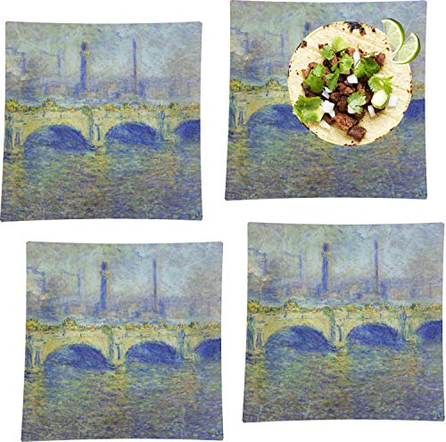 Waterloo Bridge by Claude Monet Set of 4 Glass Square Lunch/Dinner Plate 9.5