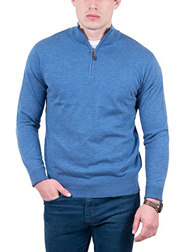 Real Cashmere Light Blue Half Zip Cashmere Blend Sweater Mens Sweater (Half Zip Sweater Blue)