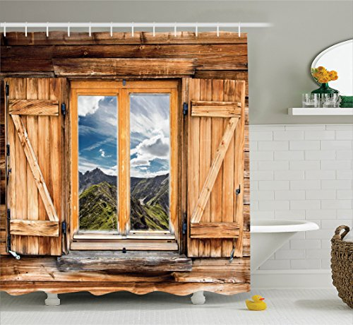 Apartment Decor by Ambesonne, Mountain and Sky View from a Wooden Shuttered Window Room on Top of the Hills Nature Look, Polyester Fabric Bathroom Shower Curtain, 84 Inches Extra Long, - Village Hills At Woodland