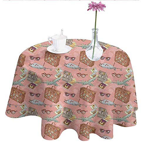 DouglasHill Airplane Printed Tablecloth Bon Voyage Vacation Tourist Pattern with Luggage Polaroid Camera and Sunglasses Desktop Protection pad D55 Inch Multicolor