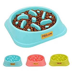 AOLOVE Slow Feeder Bowl Healthy Food Fun Anti-Choke Pet Bowls for Dog (One Size, Blue)