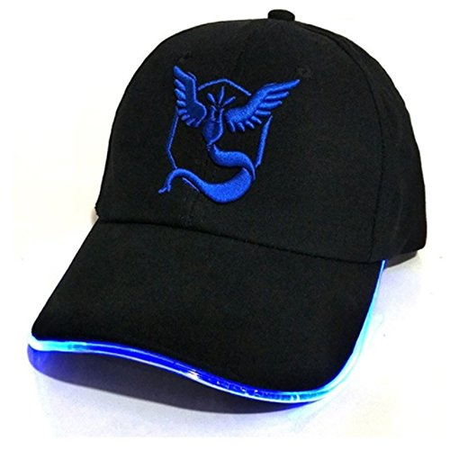 Pokemon GO Light Up Hat - Unisex One Size Fits Most Adjustable Baseball Cap With Embroidered Team Mystic Logo - High-Quality Stitching And Logos - Great Gift For Pokemon Fans (Pokemon Fans)