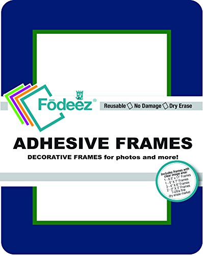 Fodeez Frames 8 Reusable, Long-Lasting Peel and Stick Wall Decal with Dry Erase Mark, Navy (FF-ALL-08-COR-NAVY)