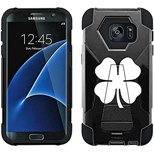 Samsung Galaxy S7 Edge Hybrid Case Silhouette Four Leaf Clover Irish Ireland on Black 2 Piece Style Silicone Case Cover with Stand for Samsung Galaxy S7 Edge Sales