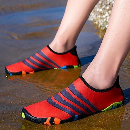 Zapatos Swimming Arriba de Agua Beach Snorkeling Antideslizante Zapatos Aguas Rosa Negro Rojo de Secado Wearable Do Azul Rápido Yoga Unisex Athleisure Spandex PpwPr