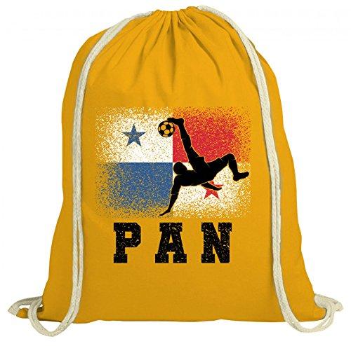ShirtStreet Wappen Fußball WM Fanfest Gruppen Trikot Fan natur Turnbeutel Rucksack Gymsac Panama Football Player Gelb Natur SLQ7uTeTRJ