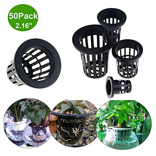 Acidea 50Pack 2 Inch Garden Plastic Net Cups Pots,Round Heavy Duty Net Cups Pots for Hydroponics Aquaponics Orchids