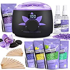 Don't settle for the typical home wax removal kit that doesn't get the job done, is hard to use, and leaves skin irritated & inflamed for days.   The Tress Wellness Hair Removal Digital Pro Wax Warmer Kit provides you with every wax tool...