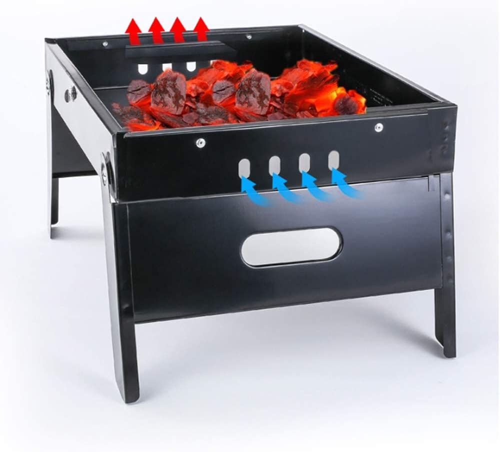 WangQ En plein air Barbecue Grill, Barbecue au charbon Portable Outdoor Folding Ménage carbone Grill (adapté for 3~5 personnes) un barbecue (Color : Black) Black