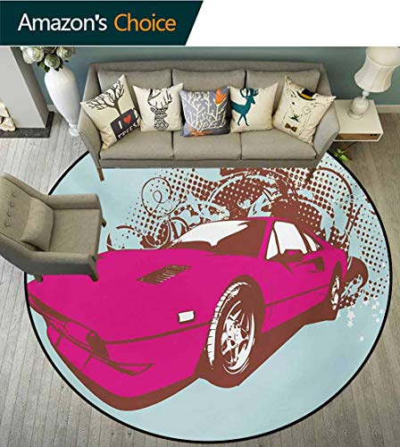 RUGSMAT Vintage Round Area Rug,Custom Collectors Old Car Grunge Background Cartoon Like Funky Art Indoor/Outdoor Round Area Rug,Diameter-71 Inch Baby Blue Hot Pink Redwood