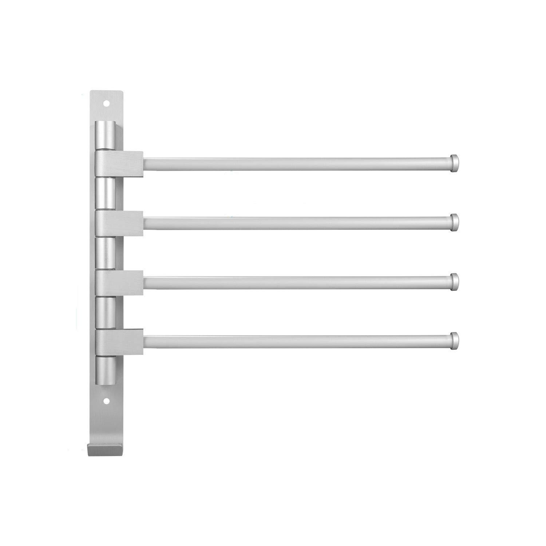 FXICH 4-Arm Towels Rack Hook - Rotating 180 Degrees - Swivel Towel Bars Bathroom,Aluminum (4-Arm)