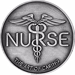 Nurse The Art Of Caring Caduceus Black Chrome Heavy Duty ID Security Badge Retractable Cord Reel with Belt Clip
