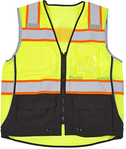 1cef8c90baa MIVIS SAFETY APPAREL 16515-38-3 Premium Surveyor Vest with Pockets and  Black Bottom