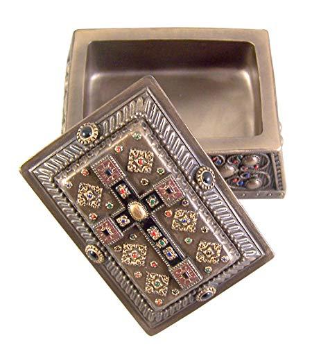 Bronze Toned Medieval Cross Religious Jewelry Trinket Box, 4 Inch ()