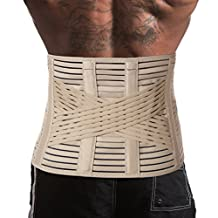 Breathable Lumbar Lower Back Brace Support Belt / Pain Relief and Comfort Posture - X-Large, Waist/Belly 116 - 125 cm Beige