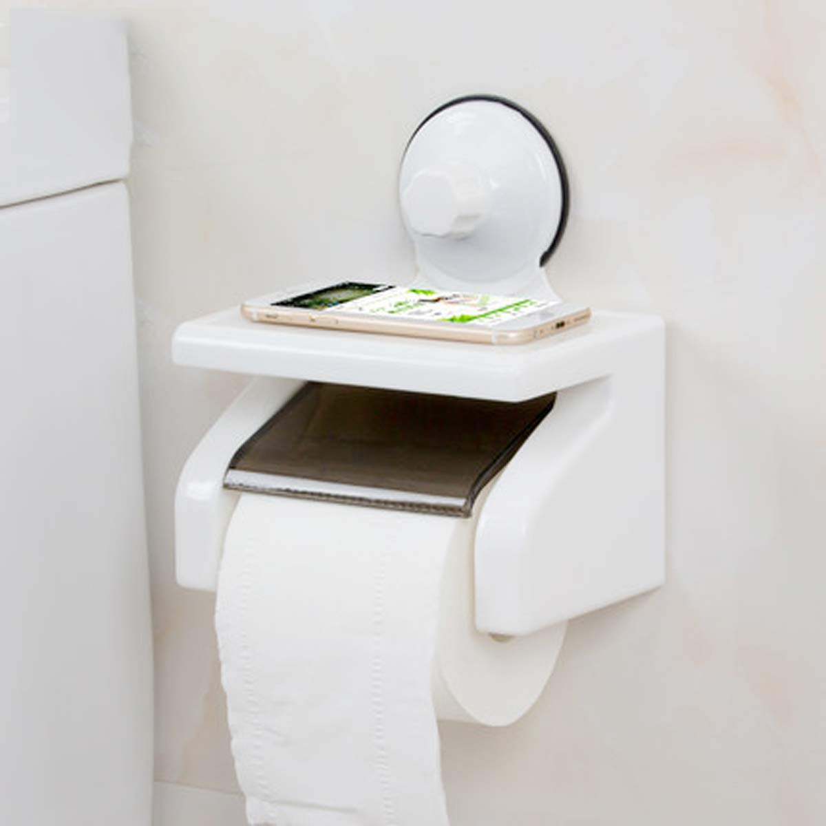 Q&F Wall Mount Toilet Paper Holder, Tissue Roll Hanger With Storage Shelf-waterproof, Moisture Proof-suction Cup,Plastic