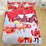 Quilt cover Bedding Christmas Night Home Textiles Hot Red Santa Claus Printed Bed Sheet Family Linen 3Pcs Twin Full Queen , queen