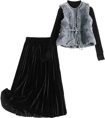 Terciopelo Chaleco de Tres Piezas de Invierno señora niña Stand Collar Manga Larga Bottoming Camisa Cintura Alta Media Falda Traje de Moda,M: Amazon.es: Hogar