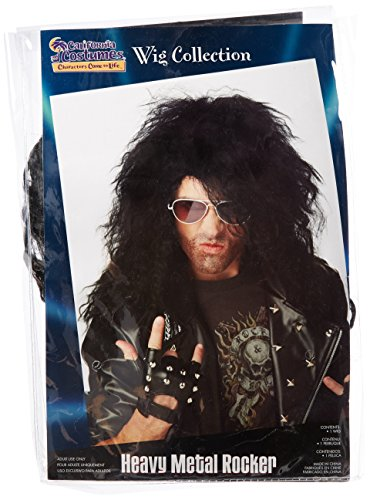 Kids Rockstar Costumes (California Costumes Men's Heavy Metal Rocker Wig,Black,One)