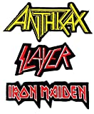 : Set_ROCK014 - Anthrax Patch, Slayer Patch and Iron Maiden Patch, 3 Pcs Heavy Metal Patches, Applique Embroidered Patches - Rock Band Iron on Patches