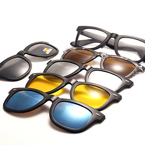 Driving sol Hombres TR90 de de Clip Marco Night Lentes protección 5Pcs 2206a sol on plástico magnético de gafas Polarizado Mujeres Gafas Unisex UV400 TIMWILL zqTx4AB