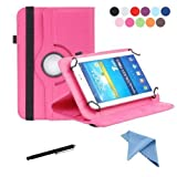 7 inch tablet starter kit - EEEKit Rotating Stand Cover Case for 7 inch Tab Epad ASUS ZenPad,HP 7 Plus G2,Astro Tab A724 7,Dragon Touch M7 Vulcan Journey 7 (Hot Pink)