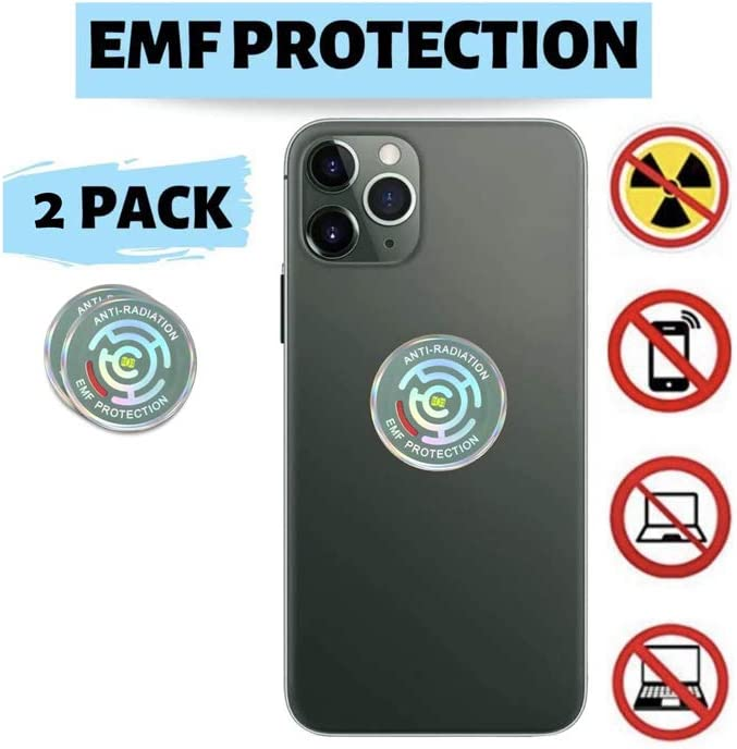 EMF Protection, 5G Neutralizer, Anti Radiation Sticker, for Cell Phone, Laptop, Desktop, Modem, Wi-Fi Router, Appliance, Microwave, and All Electronics Pack (2)
