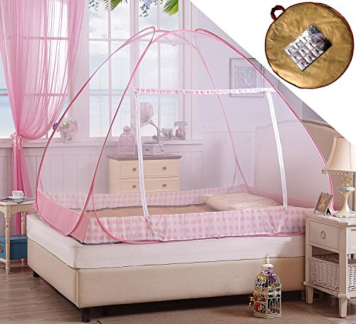 Bottoms Adult Baby (Hasika Pop-Up Mosquito/Folding Mosquito Net Tent Canopy Curtains for Beds Anti Mosquito Bites folding design with net bottom for babys adults trip(47 x 77x 54 inches))