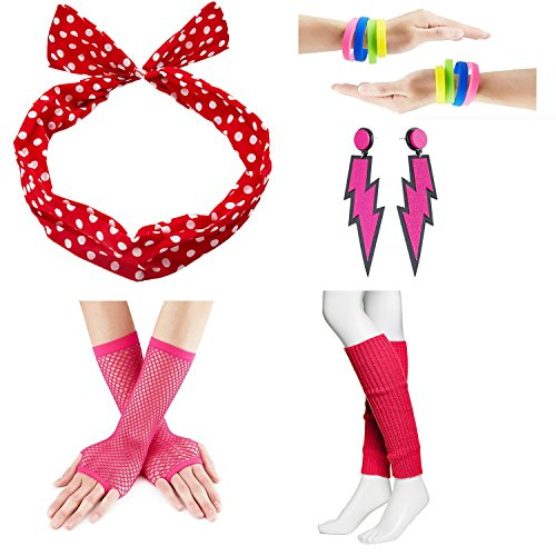 80s Fancy Outfit Costume Accessories Set,Leg Warmers,Fishnet Gloves,Earrings, Headband, Bracelet and Beads (OneSize, N22)