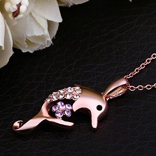 Jiayiqi Femmes Créative Dolphin Zircon Pendentif Collier Fashion Rose Or Plaqué Bijoux