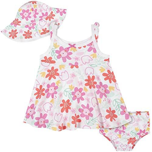 Gerber Baby Girls' 3-Piece Sundress, Diaper Cover and Hat Set