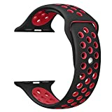 OULUOQI Apple Watch Band 42mm, Soft Silicone Replacement Band for Apple Watch Series 3, Series 2, Series 1, Sport , Edition, M/L Size ( Black / Red )