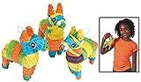 Mini Hollow Donkey Shaped Pinatas (3 Pack) Party Decor.