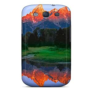 Mwaerke Premium Protective Hard Case For Galaxy S3- Nice Design - Fiery Mountains