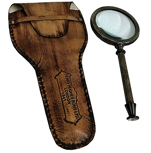 Global Art World Vintage Collectible Kelvin & Hughes London Brass Frame Antique Hand Lens Magnifying Glass MG 05
