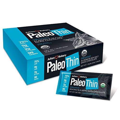 Paleo Thin® Keto Dark Chocolate Bars (Sea Salt & Almond) (USDA Organic) (99 Calories : 2 Net Carbs : Gluten Free : 0g Sugar) (12 (Almond Hot Chocolate)